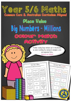 Year 5/6 Place Value Big Numbers - Millions Colour Match Activity
