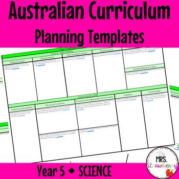 Year 5 Australian Curriculum Planning Templates - Science