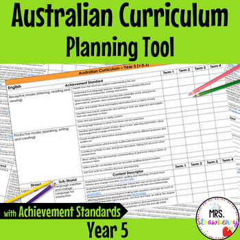 Year 5 Australian Curriculum Planning Tool – with Achievement Standards