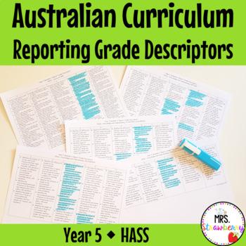 Year 5 Australian Curriculum Reporting Grade Descriptors - HASS