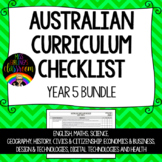 Year 5 BUNDLE - Australian Curriculum Checklists