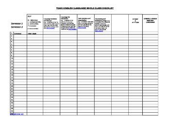Year 5 English Checklist & Student Profile Sheet A3 Australian Curriculum
