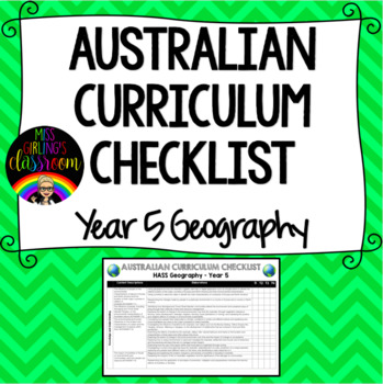 Year 5 Geography - Australian Curriculum Checklist