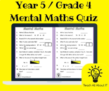 Year 5 / Grade 4 Mental Maths Quiz by Teach All About It ...