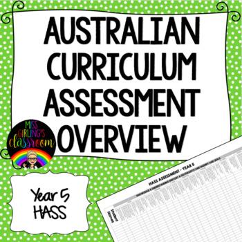 Year 5 HASS Australian Curriculum Assessment Overview