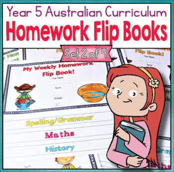 Year 5 Homework Flip Books For a Whole Term! Set 2 - Australian Curriculum.