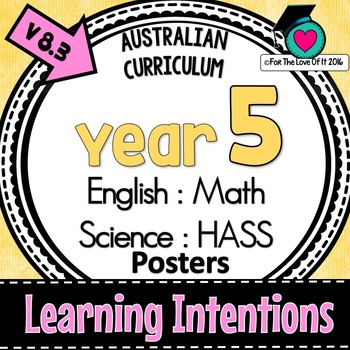 Year 5 - Australian Curric. LEARNING INTENTIONS - English, Math, Science, HASS