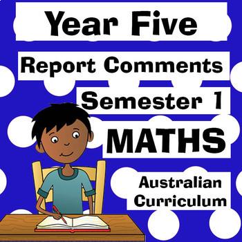 Year 5 Maths Report Comments - Australian Curriculum
