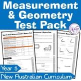 Year 5 Measurement & Geometry Maths Test Pack- Australian Curriculum