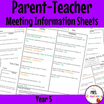 Year 5 Parent Teacher Meeting - Student Information Sheets **EDITABLE**