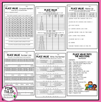 Place Value Into The Millions - Worksheet Pack