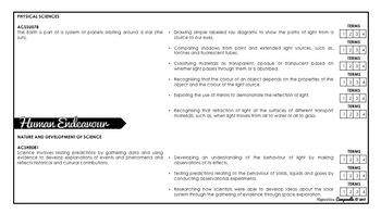 Year 5 Science (Black & White) | Australian Curriculum Checklist