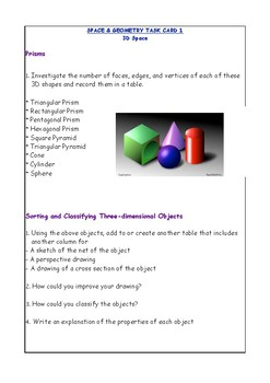 Year 5 Space & Geometry Task Cards