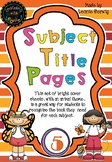 Year 5 Subject Title Pages –Free – Animals