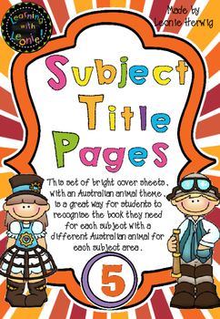 Year 5 Subject Title Pages –Free – Australian Animals
