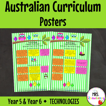 Year 5 & Year 6 Australian Curriculum Posters – Technologies
