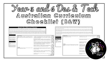 Year 5 and 6 Design and Technologies (B&W) | Australian Curric Checklist