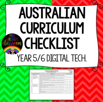 Year 5/6 Digital Technologies - Australian Curriculum Checklist