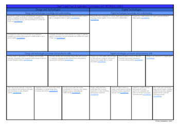 Year 5 and Year 6 Australian Curriculum Planning Templates: Technologies