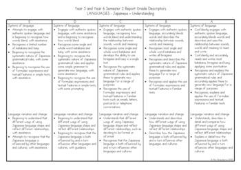 Year 5 and Year 6 Australian Curriculum Reporting Grade Descriptors - Japanese