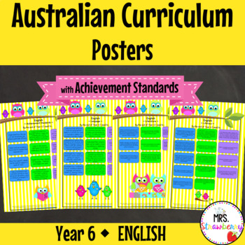 Year 6 Australian Curriculum Posters – English {with Achievement Standards}