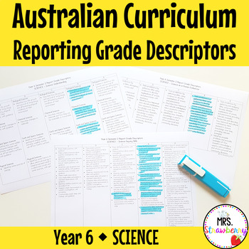 Year 6 Australian Curriculum Reporting Grade Descriptors - SCIENCE