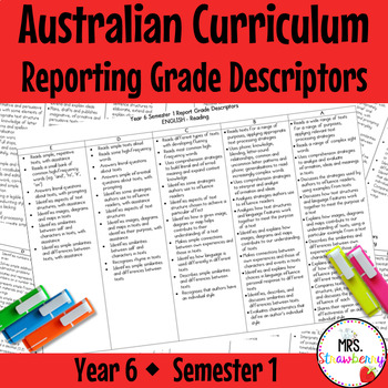 Year 6 Australian Curriculum Reporting Grade Descriptors: ENGLISH/ MATH – Sem 1