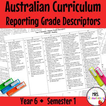 Year 6 Australian Curriculum Reporting Grade Descriptors –