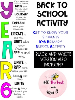 Year 6 BACK TO SCHOOL ACTIVITY