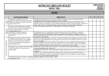 Year 6 English - Australian Curriculum Checklist