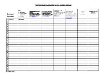 Year 6 English Checklist & Student Profile Sheet A3 Australian Curriculum