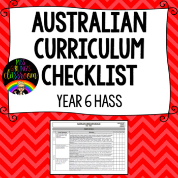Year 6 HASS - Australian Curriculum Checklist