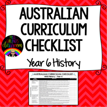 Year 6 History - Australian Curriculum Checklist
