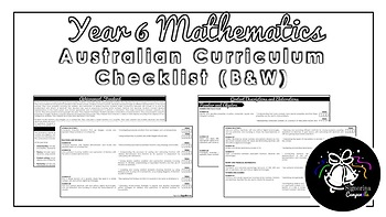 Year 6 Mathematics (Black & White) | Australian Curriculum Checklist