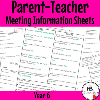 Year 6 Parent Teacher Meeting - Student Information Sheets **EDITABLE**