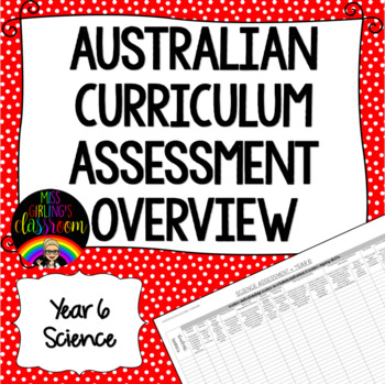 Year 6 Science Australian Curriculum Assessment Overview