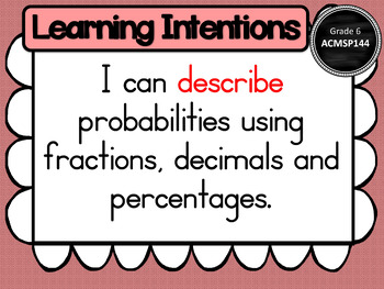 Year 6 – Statistics & Probability Learning INTENTIONS & Success Criteria Posters
