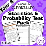 Year 6 Statistics & Probability Maths Test Pack- Australian Curriculum