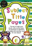 Year 6 Subject Title Pages –Free – Animals