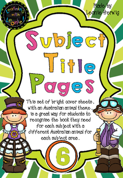 Year 6 Subject Title Pages –Free – Australian Animals