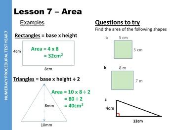 Year 7 (6th Grade) Numeracy starters - 585 Sildes - Examples and questions