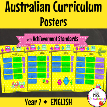 Year 7 Australian Curriculum Posters – English {with Achie