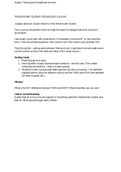 Year 7 Civics & Citizenship Westminster Introduction