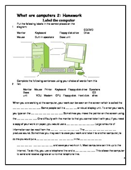 Grade 7 Year 7 ICT Computer Basics ICT Homework Booklet