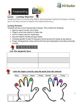 FREE-Grade 7 Year 7 ICT Computer Basics Keyboarding a  ICT Workbook