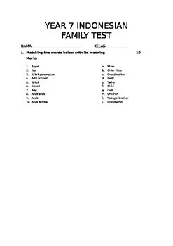 Year 7 Indonesian Family Topic Test