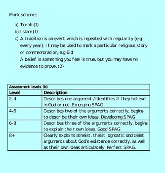 Year 7 'Introduction to RE' Assessment