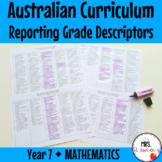 Year 7 MATHEMATICS Australian Curriculum Reporting Grade D