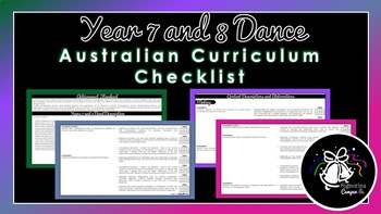 Year 7 and 8 Dance | Australian Curriculum Checklist
