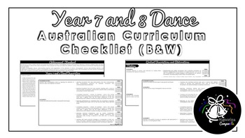 Year 7 and 8 Dance (Black & White) | Australian Curriculum Checklist